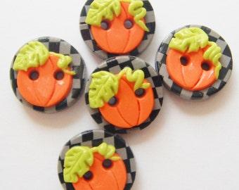 Button Pumpkin on Check handmade polymer clay buttons ( 5 )