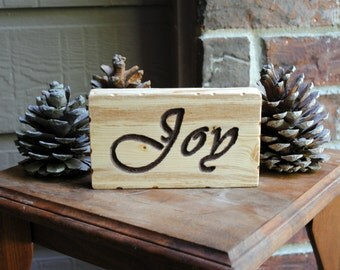 Joy Reclaimed Wood Carved Wood Sign
