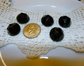 Vintage Set of 5 Pretty Large Black Glass Faceted Buttons, 3/4""