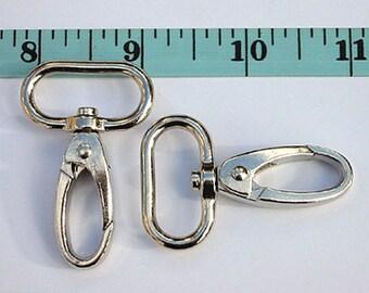 """2pcs 1"""" alloy Swivel Snap Hook / Lobster Claw / Push Gate Hook in Nickel"""