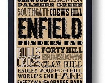 Enfield (Edmonton Southgate Arnos Grove)  London Typography Wall Art Poster