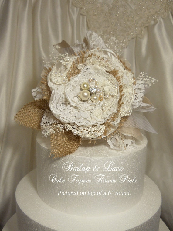 burlap and lace wedding cake toppers burlap amp lace cake topper flower by rusticsweethearts 12254