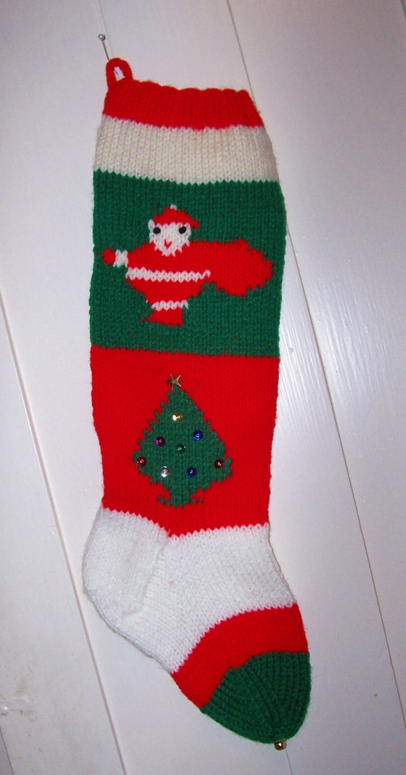 Hand Knit Christmas Stocking Old Pattern Santas and Trees