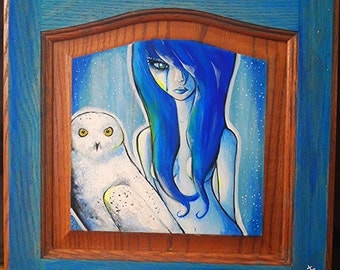 "14.5"" x 14.5"" - Original Painting- Snowy Owl & Girl"