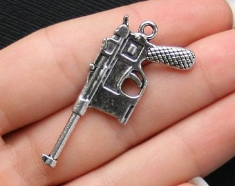 4 Gun Charms Antique  Silver Tone 2 Sided Large Size - SC1477