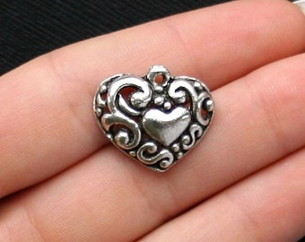 10 Hearts Charms Antique  Silver Tone - SC1598
