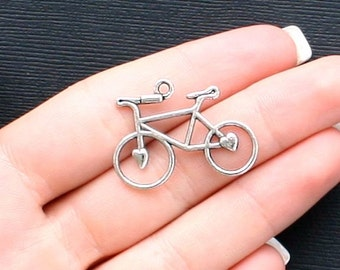 6 Bicycle Charms Antique  Silver Tone - SC943