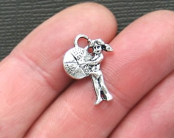 10 Beach Girl Charms Antique  Silver Tone - SC2601