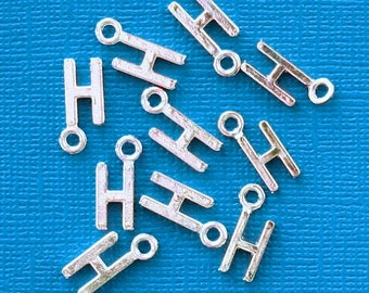 8 Letter H Alphabet Charms Antique Silver Tone Great for So Many Projects - SC2632