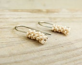 Cream white tube dangle earrings. Seed bead fashion everyday jewelry. Holiday gift idea