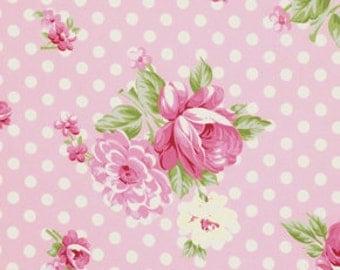Out of Print Tanya Whelan Fabric, Roses and Mums Pink, Rosey, Designer Fabric, Half Yard