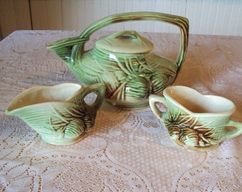 Vintage Mccoy pottery 3 piece set, teapot  matching creamer and sugar, green pinecone, cottage decor, green glass, vintage pitcher set