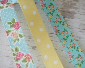 SAMPLE OF Aqua and Yellow trio washi tape - 1 METRE of each tape- flowers - floral washi tape - Embellishments