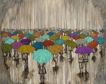 Rain Art Print, titled A Sea of Umbrellas, Umbrella Art Print