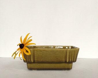 Vintage Ceramic Planter Olive Green