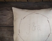 Monogram Pillow Cover, Personalized Wedding Gift, Couples Gift, Modern Home Decor, Arrow Wreath, Gift under 50 MADE TO ORDER