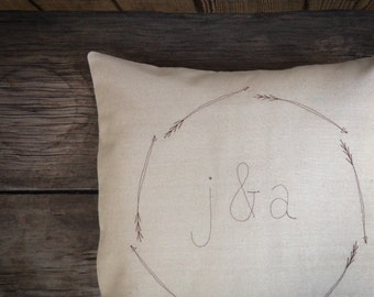 Personalized Pillows, Monogram Pillow Cover, Wedding Gift, Couples Gift, Modern Home Decor, Arrow Wreath, Gift under 50 MADE TO ORDER