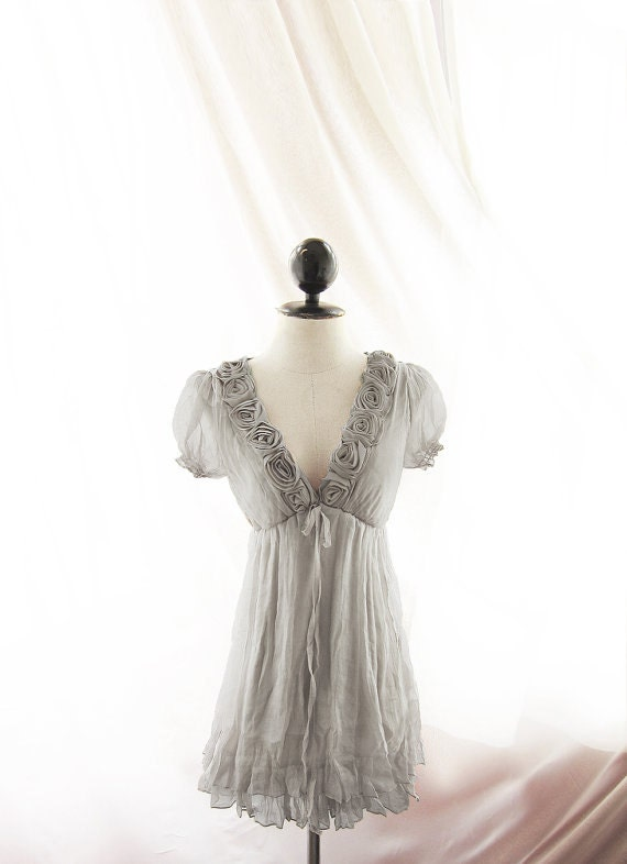 Winter Gray Shabby Chic Marie Antoinette Fae Mori Girl Romantic Kimono Elven Rosette Alice in Wonderland Grecian Puff Sleeve Chiffon Dress