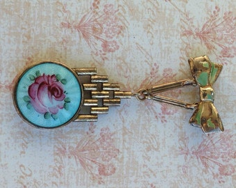 1940s Brooch Enameled Locket