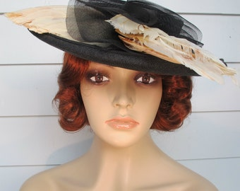 1950s Hat Black Straw With Feathers By Sunnyland