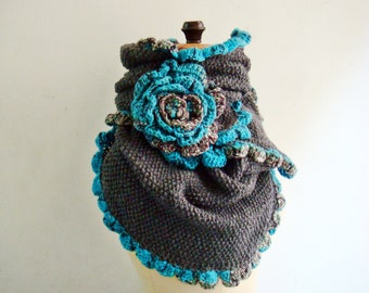Pattern Knit Infinity Scarf with crochet edge, Knit Scarf Pattern, Loop Scarf Knitting Crocheting Pattern, 231
