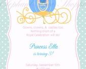 Blue Princess Birthday Invitation - Digital file pdf - 5x7