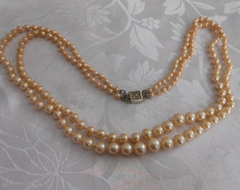 Vintage necklace, double strand champagne faux pearl necklace, sterling clasp, 1940s necklace, elegant necklace, vintage jewelry
