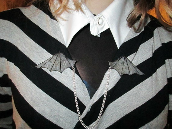 Edward Gorey Style detailed Bat Wing Sweater Chain pins - Made to Order