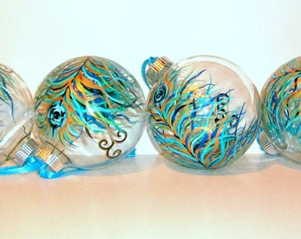 Peacock Feather Christmas Balls Hand Painted Ornaments Set of 4 - 4 inch Christmas Ornaments Baubles Peacock Feather Gift Wedding