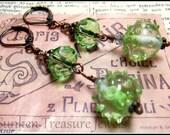 Gorgeously Green, Peridot Green Hand-Blown Lampwork Glass, Czech Glass Earrings in Green, Olivene and Crystal, Downton Abbey Earrings