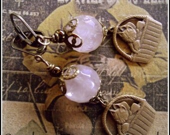 Charming Kittens and Cats in a Basket Vintage Style Earrings, Rose Quartz and Cat Earrings, Victorian Cat Earrings, Cat Lovers Rose Quartz