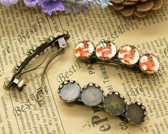 5pcs of antique brass Hair Clips Barrette with round Cabochon Base(Fit Cabochon Size:12),hairpin findings,Lace Cameo Setting