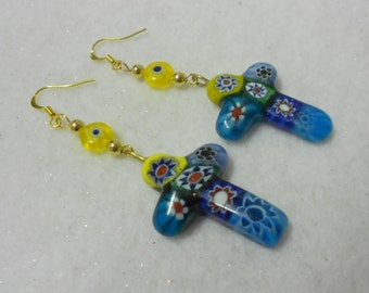 Cross Earrings, Millifiori Earrings, Colorful Earrings, Glass Earrings, Faith Jewelry