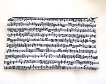 Sheet Music Zipper Pouch / Pencil Case / Make Up Bag / Gadget Sack