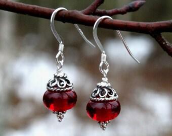 Sweet Deep Red Glass Dangle Earrings, Sterling Silver, Lampwork Jewelry, Glass Jewelry, Swedish Handmade, Lampwork, Earrings, Glass Beads,