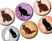 Whimsical Cats 1 inch bottlecaps circle images. Cats vintage style digital collage sheet for pendants, bottle caps. Digital download.