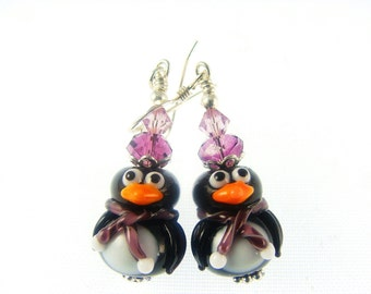 Black White Penguin Lampwork Earrings, Christmas Glass Bead Earrings, Lampwork Jewelry, Beadwork Earrings, Glass Bead Jewelry