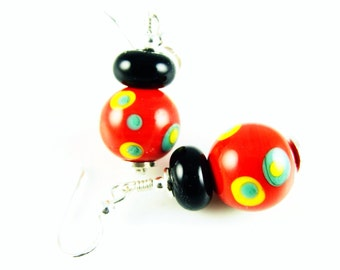 Lampwork Earrings, Glass Bead Earring, Red Dangle Earrings, Black Colorful Earrings, Beaded Earrings, Lampwork Jewelry, Beadwork Earrings