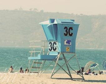Lifeguard Tower Beach Photograph - 8x12 beach scene Summer day, beach photo, beach decor, Corona Del Mar, San Diego, California