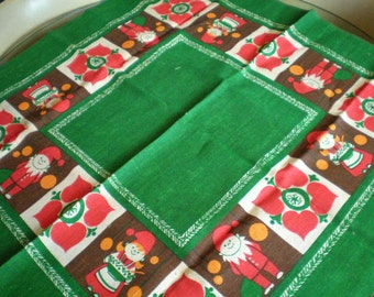 Vintage Mid Century Christmas Themed Dining Table Cloth