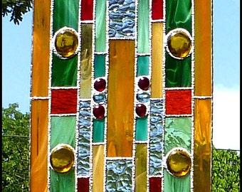 "Stained Glass Suncatcher - Gold - Green - Orange - Geometric, Abstract Design Sun-Catcher, Stained Glass Sun Catcher - 9 1/2"" x16"" - 9505-GL"