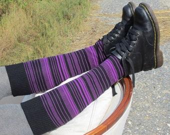Knit Boot Socks Purple Black For Women Striped Knee High Leg Warmers Stripe Knit A1270