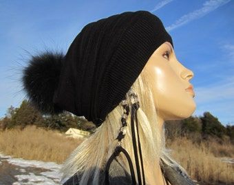 Black Cashmere Knit Hat Fur Pom Pom Beanie Baggy Back Tam A1447