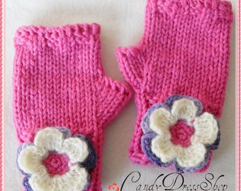 Flowered mittens, Pink mittens for girls, Girls pink gloves, Hot pink wrist warmers, Hot pink fingerless gloves - (2 to 9 years)