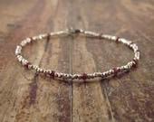 Garnet Bracelet with Hill Tribe Silver Beads Woman's Beaded Beadwork January Birthstone Bracelet Jewelry Gemstone Women Valentine's Day