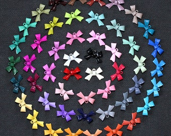 Limited Time Discounts 200pcs(50colors)   NEW Colored Enameled Mix Colorful Bow Charm Pendant Connector -(FILIG-E-6-MIXSS)