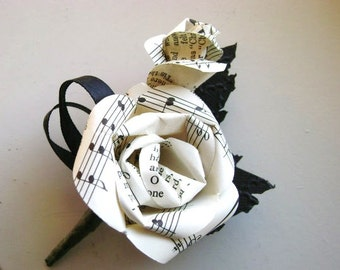 sheet music hymnal paper rose wedding men's boutonniere buttonhole with black leaves and black ribbons recycled book