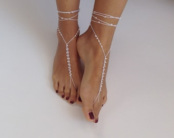 Barefoot Sandals bead ,whites, wedding , Bikini , Women , Beach , Bridal Shoes , Bridal Sandals , Bridal Jewelry ,shoes