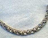 Rhinestone Crystal Costume Bracelet Vintage 1950's Silver Tone, Christmas Holidays or Year Round