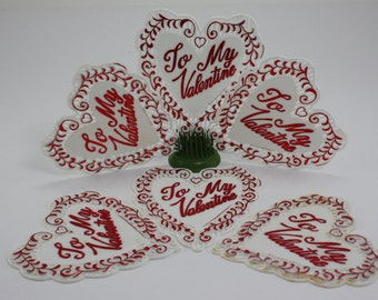 Vintage Valentines Day Plastic Hearts Cake Cupcake Decorations - 6 Pieces